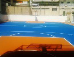 Ανακαίνιση γηπέδου μπάσκετ με σύστημα ακρυλικών ρητινών στο Νέο Κόσμο