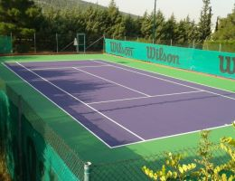 Two tennis courts in Papagou Tennis Club, Athens, Greece. Cushion system.