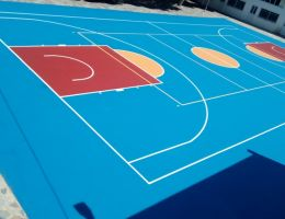 Basketball court renovation with acrylic resins system in Andros Island, Cyclades, Greece